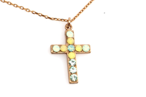 Blondie Collection Petite Crystal Cross Necklace in English Gold