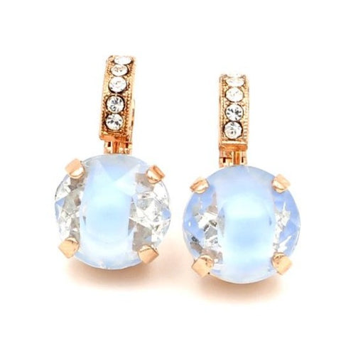 Blue Givre Crystal Earrings with Embellished Lever in Rose Gold