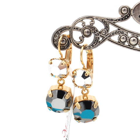 Black Diamond Crystal Dangle Earrings in Gold