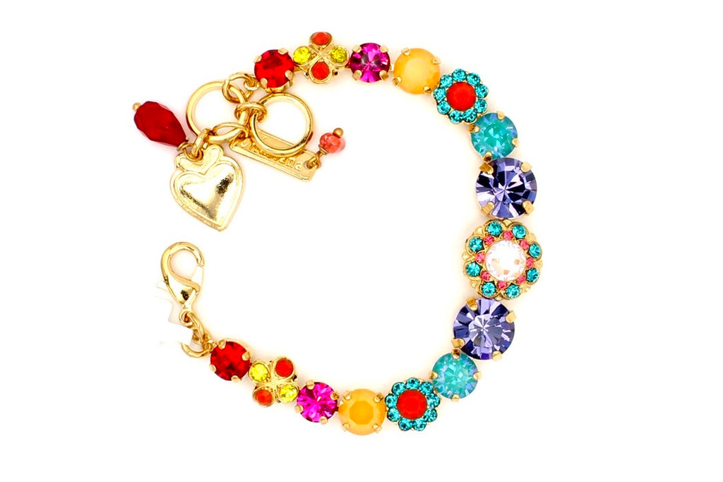 Poppy Collection Center Flower Bracelet in Yellow Gold