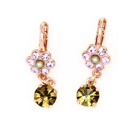 Audrey Collection Petite Flower Earrings with Crystal Drop in Rose Gold