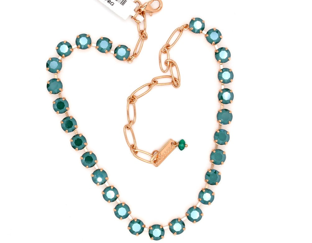 Royal Green Medium Crystal Necklace in Rose Gold