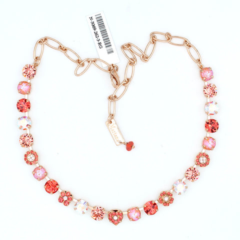 Lovers Coral Collection Crystal Heart Necklace in Rose Gold