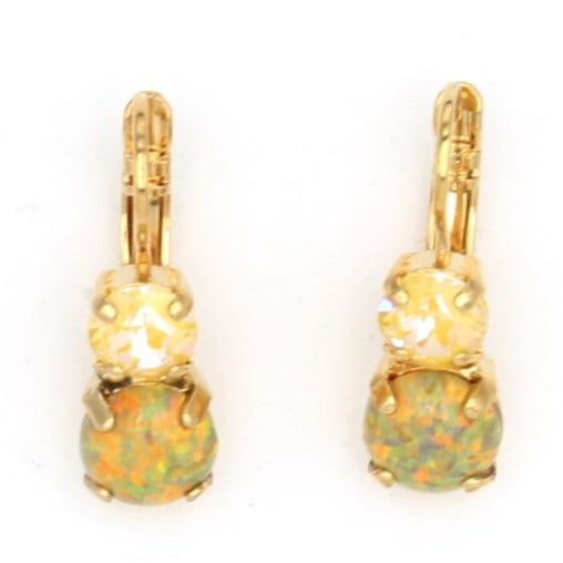 Painted Lady Must Have Double Crystal Earrings with Simulated Opal in Yellow Gold
