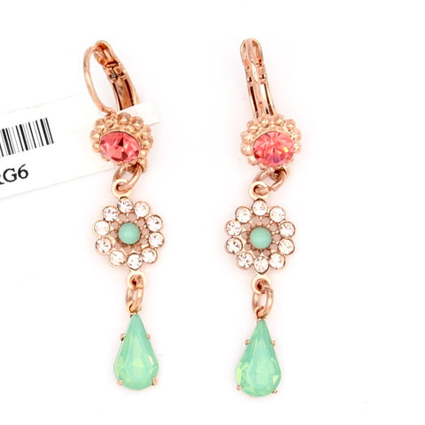 Peachy Keen Collection Flower Drop Earrings in Rose Gold