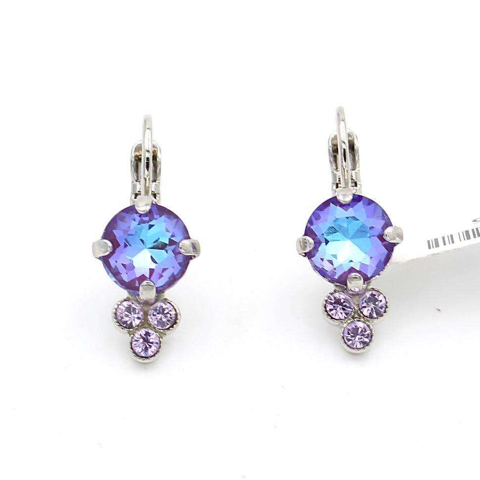 Plum Sunkissed Earrings with Triple Crystal Accent