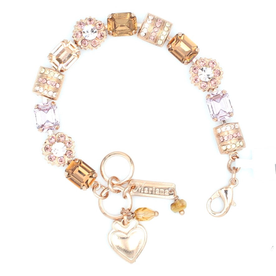 Meadow Brown Collection Rectangular Crystal Bracelet in Rose Gold