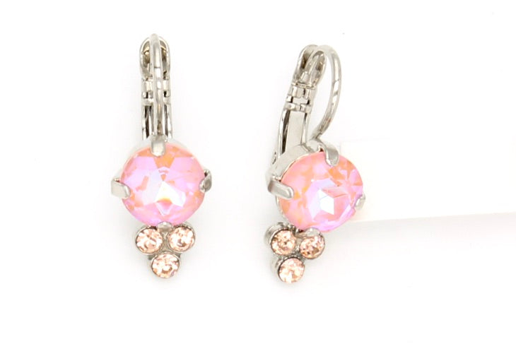 Sunkissed Peach Earrings with Triple Crystal Accent