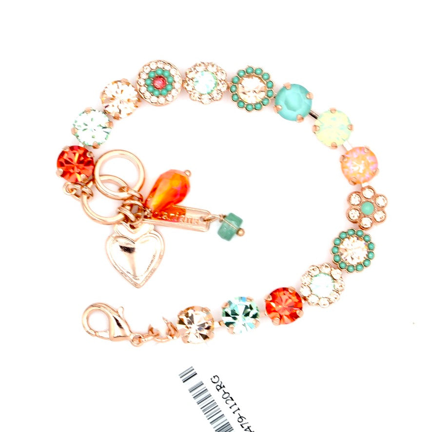 Peachy Keen Must Have 8.5MM Crystal Flower Bracelet in Rose Gold