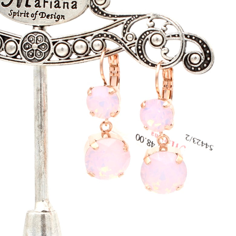 Rosewater Opal Double Crystal Earrings in Rose Gold