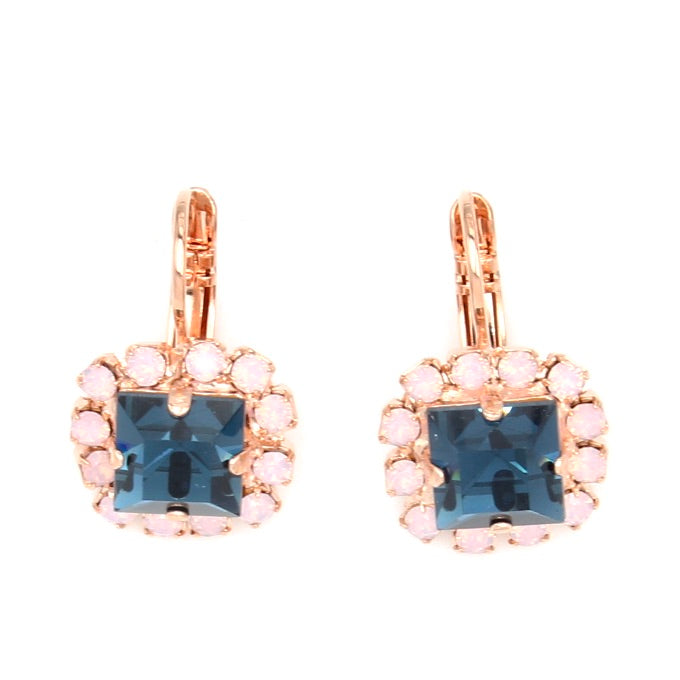 Blue Morpho Collection Square Earrings in Rose Gold