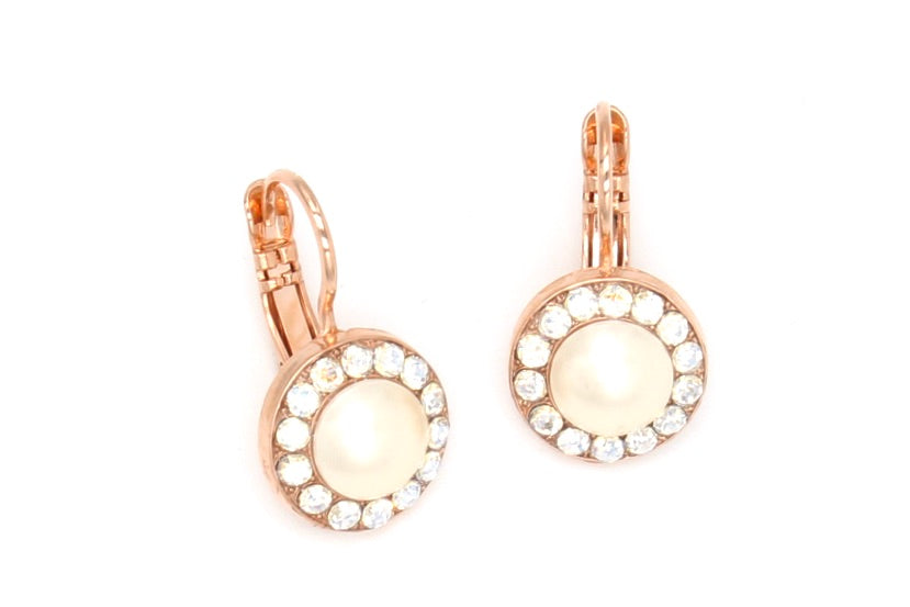 Bermuda Collection Round Crystal Earrings in Rose Gold