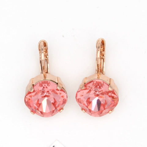 Rose Peach 12MM Square Crystal Earrings in Rose Gold