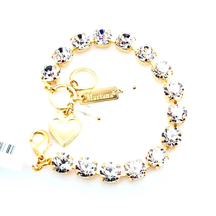 Clear Sparkly Must Have Crystal Bracelet in Yellow Gold
