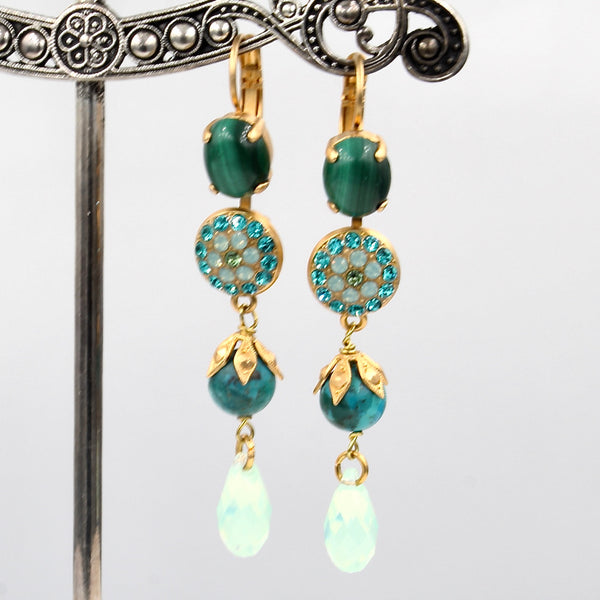 Congo Collection Oval and Round Crystal Earrings in Yellow Gold