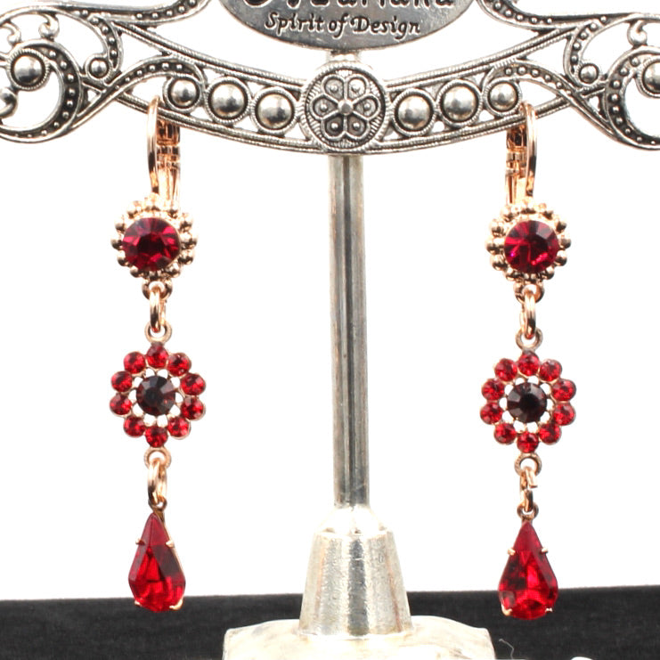Lady in Red Flower Drop Earrings in Rose Gold