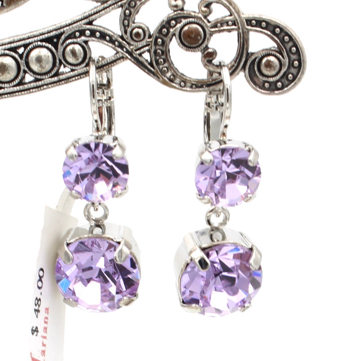 Violet Crystal Dangle Earrings