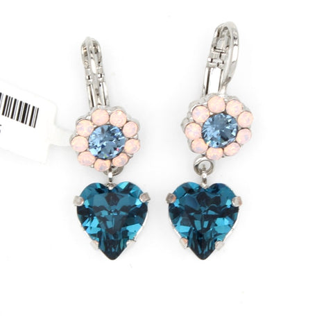 Blue Morpho Collection Small Flower Earrings with Heart Crystal