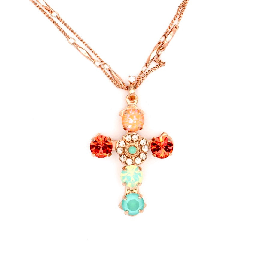 Peachy Keen Collection Must Have Double Chain Cross Necklace in Rose Gold