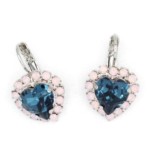 Blue Morpho Collection Heart Shaped Crystal Earrings