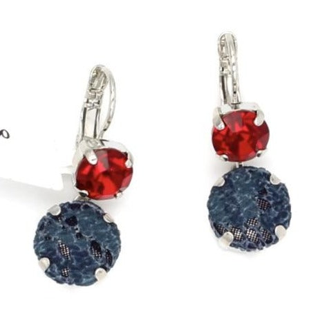 Dynasty Collection Fabric and Crystal Dangle Earrings