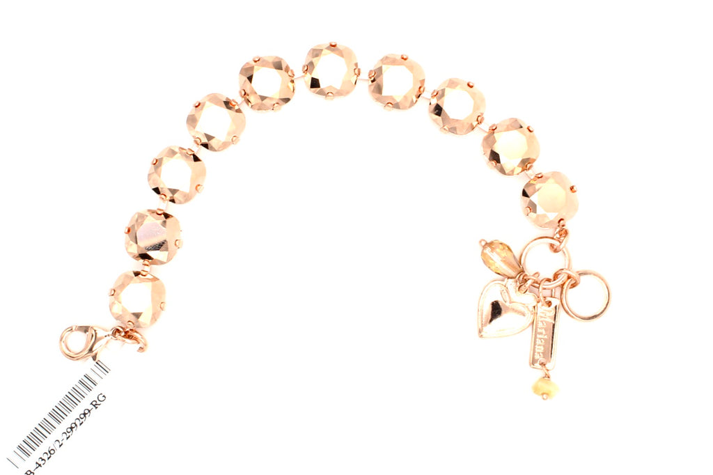 Rose Gold 12MM Square Crystal Bracelet in Rose Gold