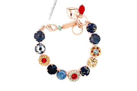 Dynasty Collection Fabric and Crystal Bracelet in Rose Gold