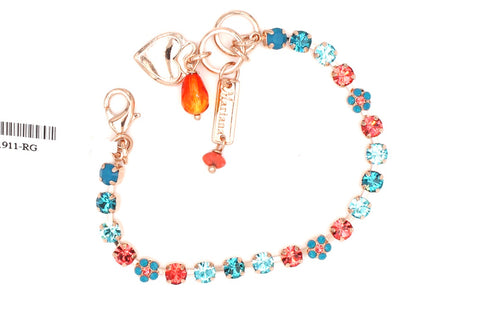 Bird of Paradise Collection Petite Crystal Flower Bracelet in Rose Gold