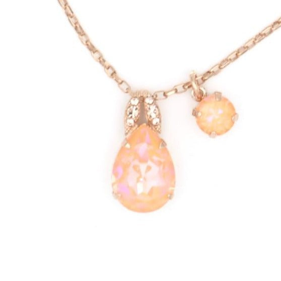 Peach Sunkissed Pear Pendant Necklace in Rose Gold
