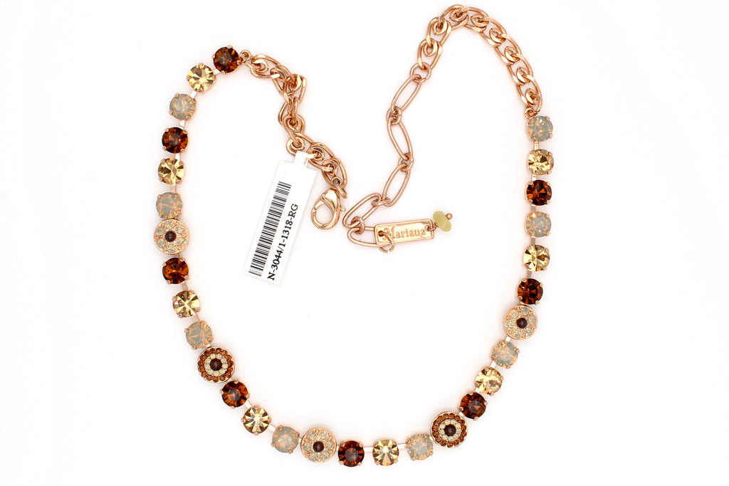 Aphrodite Collection Ornate Small Crystal Necklace in Rose Gold