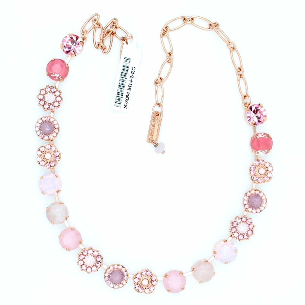 Pink Carnation Collection Large Classic Crystal Necklace in Rose Gold