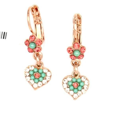 Peachy Keen Collection Tiny Flower and Heart Crystal Earrings in Rose Gold