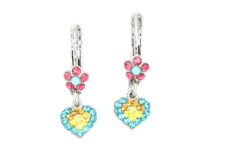 Poppy Collection Tiny Flower and Heart Crystal Earrings