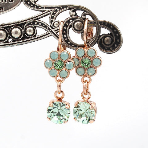 Green Ice Flower Earrings with Crystal Drop in Rose Gold