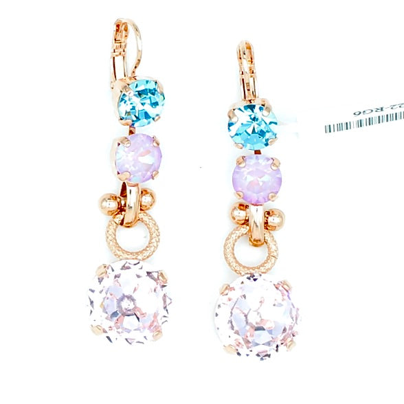 Purple Emperor Collection Crystal Dangle Earrings in Rose Gold