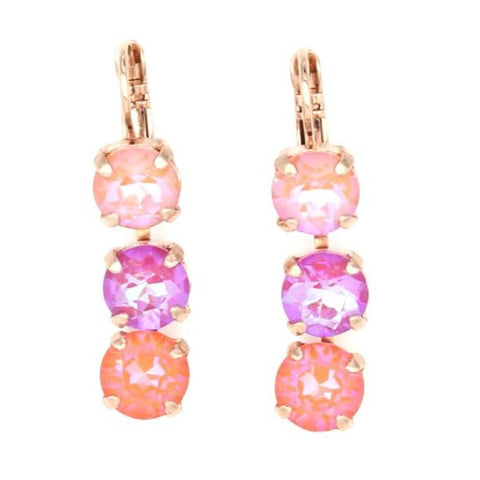 Sparkeltini Collection Triple Crystal Earrings in Rose Gold