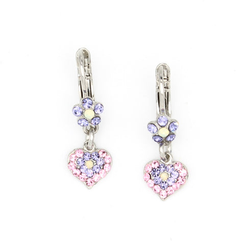 Purple Emperor Collection Tiny Flower and Heart Crystal Earrings