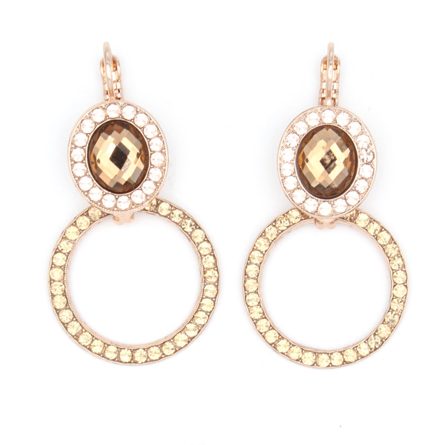 Meadow Brown Oval and Circle Earrings in Rose Gold