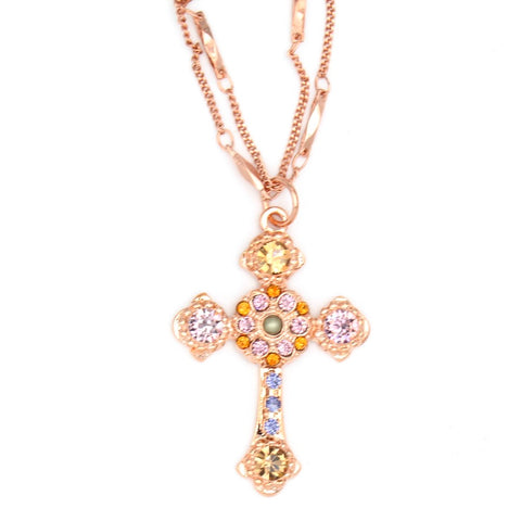 Audrey Collection Mariana Double Chain Cross Necklace in Rose Gold