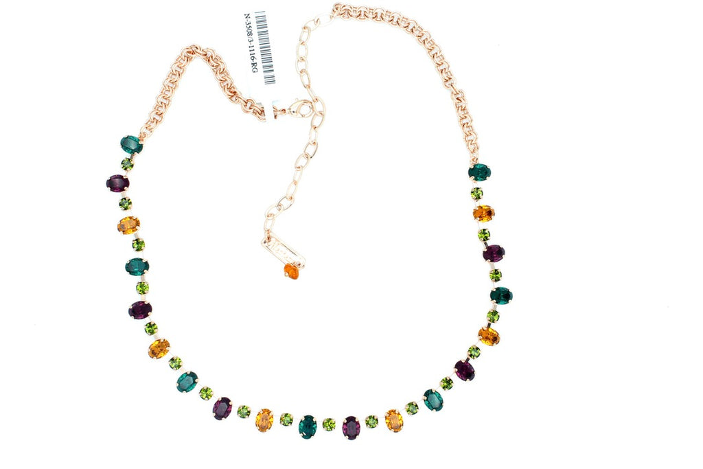 Holiday Lights Oval and Round Crystal Necklace set in Rose Gold