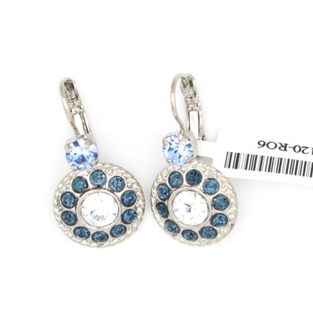 Night Sky Round w/ Light Sapphire Accent Crystal Earrings
