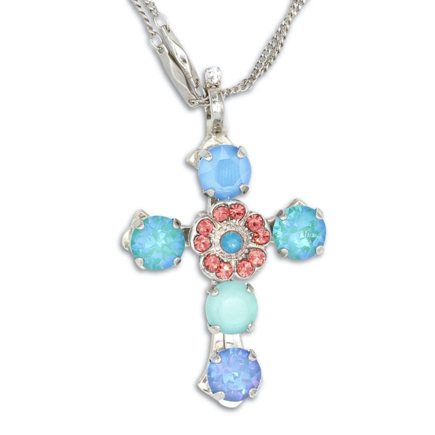 Bird of Paradise Double Chain Cross Necklace