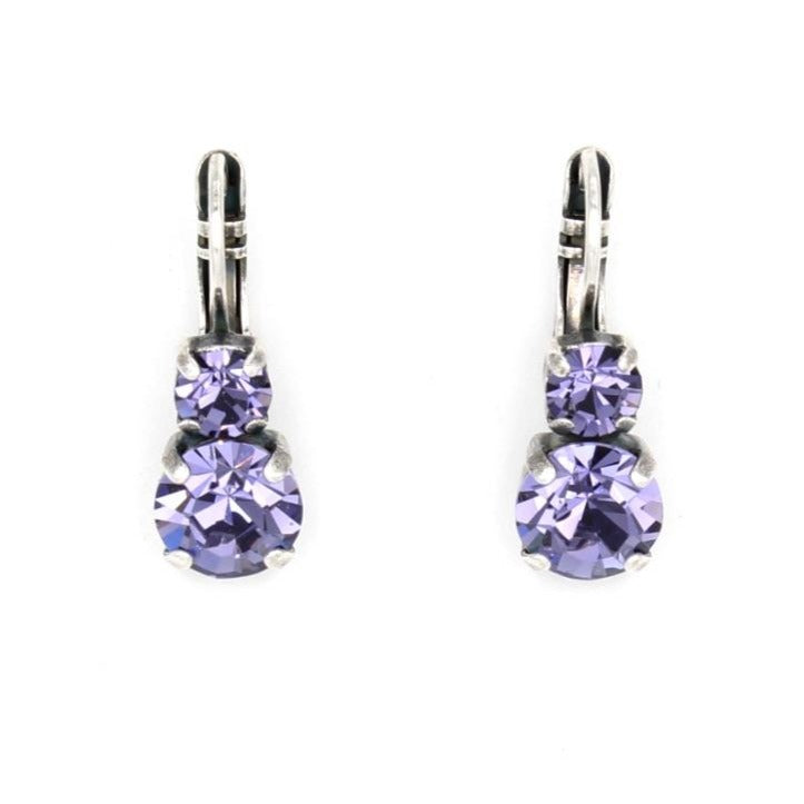 Tanzanite Medium Double Crystal Earrings