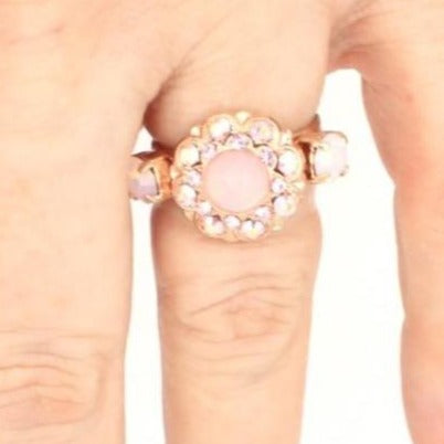 Pink Carnation Collection Round Crystal Ring with accent crystals in Rose Gold