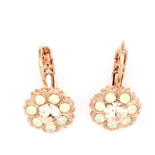 Peachy Keen Collection Flower Crystal Earrings in Rose Gold