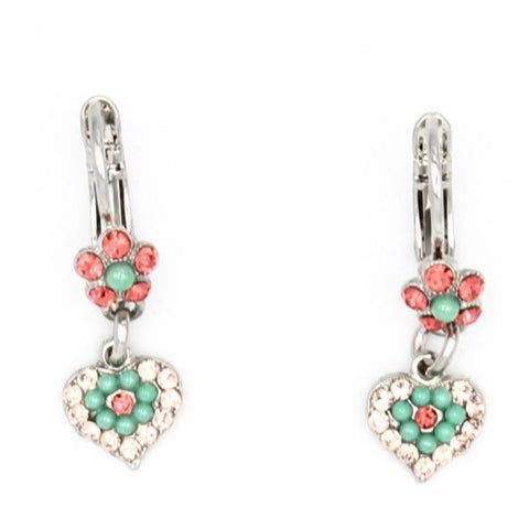 Peachy Keen Collection Tiny Flower and Heart Crystal Earrings