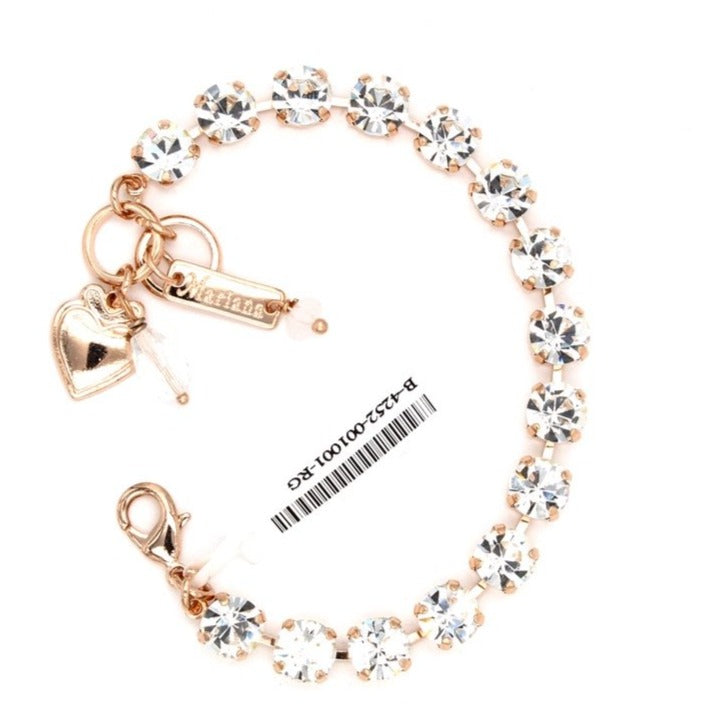 Clear Sparkly Medium Crystal Bracelet in Rose Gold