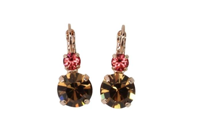 Gingerbread Collection Double Crystal Earrings in Rose Gold