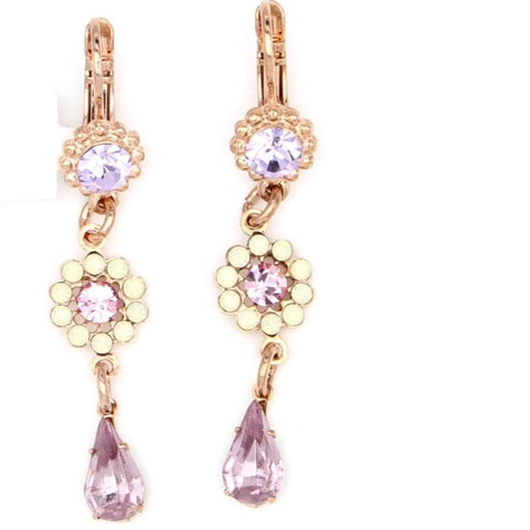 Purple Emperor Collection Flower Drop Earrings in Rose Gold