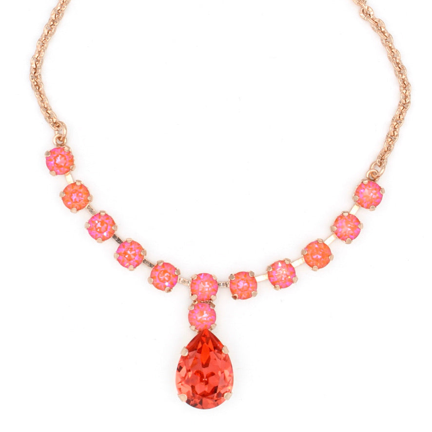 Sunset Sunkissed and Padparadscha Pear Drop Crystal Necklace in Rose Gold